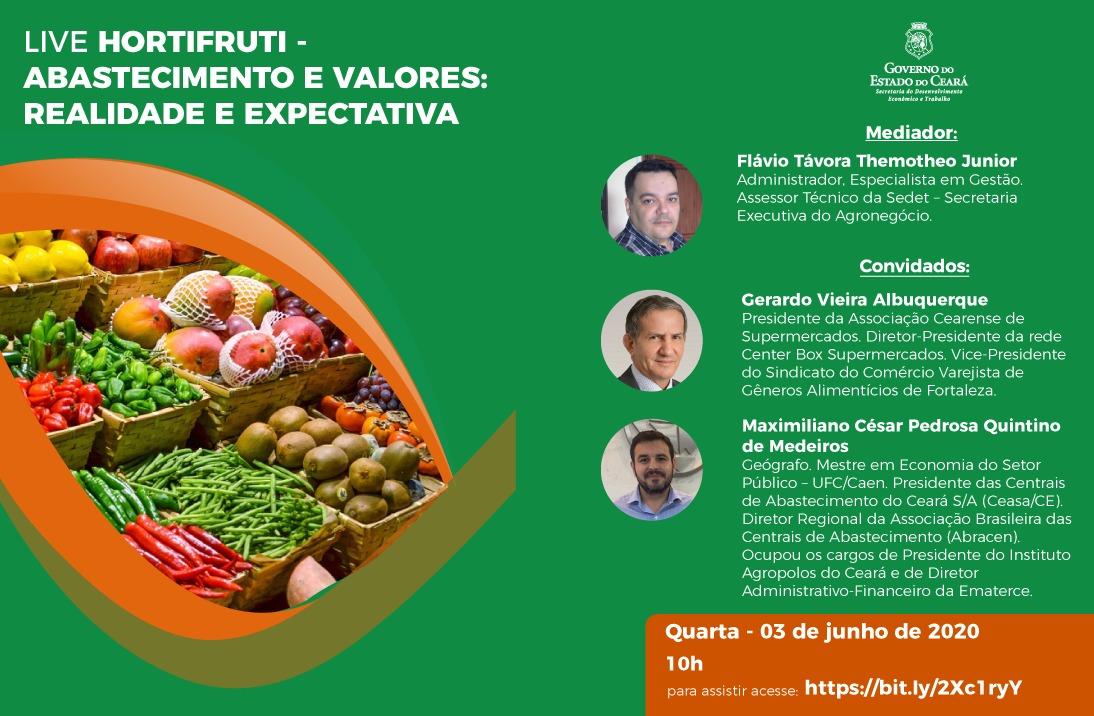 Presidente da Ceasa-CE participa de live sobre o mercado de hortifruti